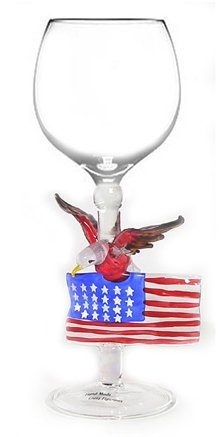 Hand Blown Eagle and American Flag Wine Art Glass by Yurana Designs W151 ()