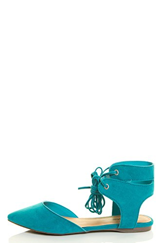 Ankle Turquoise Strappy Cuff Ballet Leg Womens Breckelles Ponity Ballerina Flat Wrap Toe Laceup xnqYSXY74