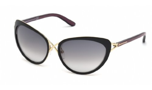 Tom Ford Sunglasses - Daria / Frame: Black with Purple-Blue Pinstripe Temples Lens: Gray - Ford Tom Lenses