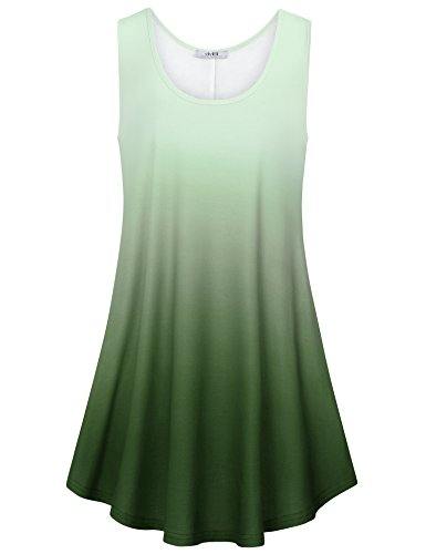 Pattern Tie Dye T-shirt (Vivilli Womens Summer Casual Sleeveless Tank Dress Swing T-Shirt Dresses with Pocket Army Green X-Large)