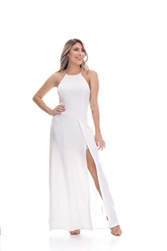 Vestido Clara Arruda Longo Fenda Frontal 50316 - G - Off White