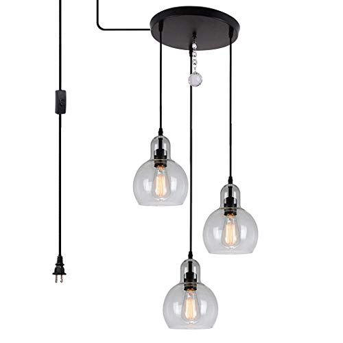 HMVPL Plug in Glass Pendant Light Fixture Remote Control 3-Lights Chandelier with 16 Ft Hanging Cord and ON/Off Toggle Switch, Rustic Hanging Lamp for Living Room Dining Room Kitchen Island Hallway