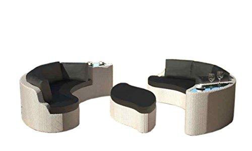 Rattaninsel Emmi Weiß Lounge Liegeinsel Sofa Garnitur Sitzecke