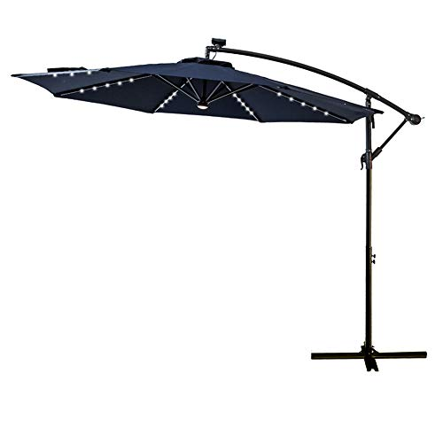 FLAME&SHADE 10' LED Light Cantilever Offset Patio Umbrella Market Style with Solar Lights for Large Outside Table or Garden, Navy Blue (Blue Solar Garden Led Lights)