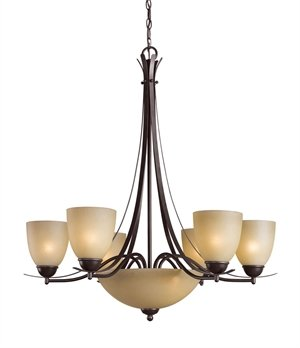 Mahogany Bronze Chandelier - Woodbridge Lighting 12182-MAB Kearney 8-Light Chandelier, 29.5