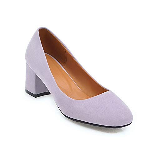 BalaMasa Womens Solid Business Travel Urethane Pumps Shoes APL10410 Purple