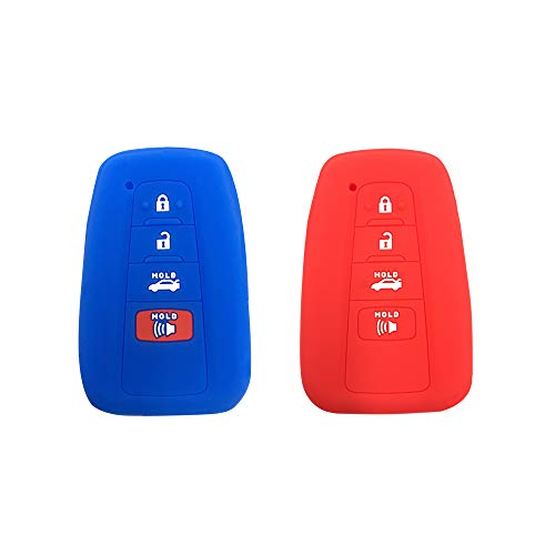 BAR Autotech Remote Key Silicone Rubber Keyless Entry Shell Case Fob and Key Skin Cover 4 Buttons Fit For 2018 Toyota Camry C-HR Prius (Blue+Red) ()