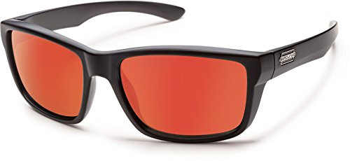 Suncloud Mayor Polarized Sunglass with Polycarbonate Lens, Matte Black Frame/Red - Polycarbonate Sunglasses Polarized