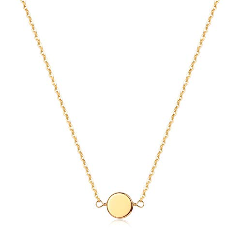 Gold Tiny Circle Necklace, Women 14K Gold Pated Dainty Geometry Cute Round Pendant Necklace