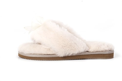 6a6f95dfbbf LAMB Women s Natural Australian Sheepskin Flip Flops Slippers (7 ...