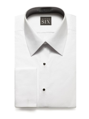Front Tuxedo Shirt (Will Slim Fit Plain Front Tuxedo Shirt By After Six from Dessy Group - White - Size 16.5/36-37)