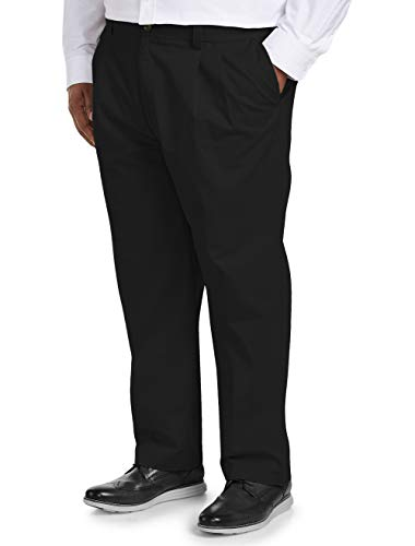(Amazon Essentials Men's Big & Tall Loose-fit Wrinkle-Resistant Pleated Chino Pant fit by DXL, Black, 52W x 32L)