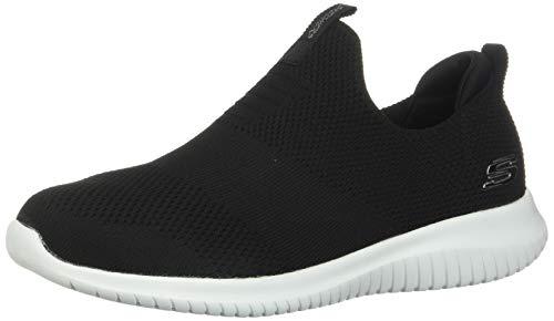 Skechers Ultra Flex First Take Womens Slip On Walking Sneakers, Black/White, 9.5