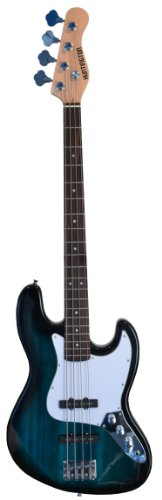 Full Size 4 String 46'' Jazz J Electric Bass Guitar with Free Gig Bag and Accessories - Blue (Includes, Strap, String, & DirectlyCheap(TM) Translucent Blue Medium Guitar Pick) by Directly Cheap
