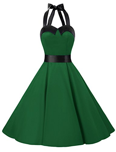 - Dressystar Vintage Polka Dot Retro Cocktail Prom Dresses 50's 60's Rockabilly Bandage Solid Army Green XXL