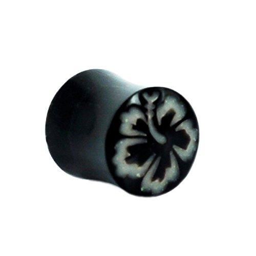 Horn Plug black Bone Inlay Hawaii Flower Tribal Earrings Organic Plug Piercing Expander Studs 12 - Ear Bone Organic Plug