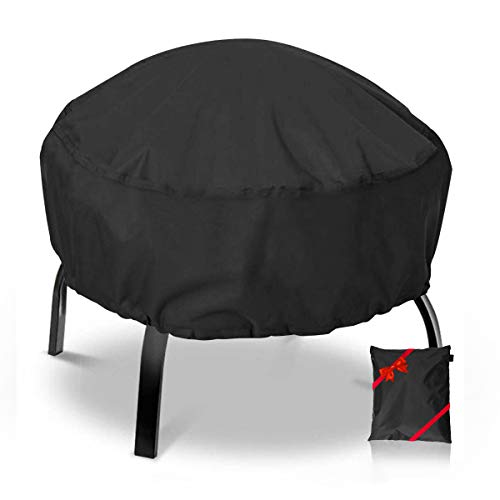 NASUM Fire Pit Cover Round 36x36 Inch Waterproof 420D Heavy Duty Round Patio Fire Bowl Cover Round Firepit Cover with Thick PVC Coating - Black (With Cover Firepit)