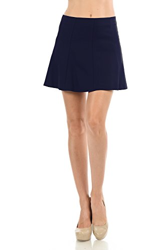 Women's Basic Solid Color Pleated Mini Flare Skirt with Invisible Back Zipper (Medium, Navy) from Maryclan