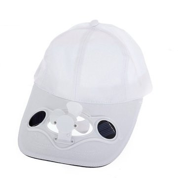 or Decoration Solar Powered Fan Hat Cap,Summer Sport Outdoor Hat Cap with Solar Sun Power Cool Fan (Color : White) ()
