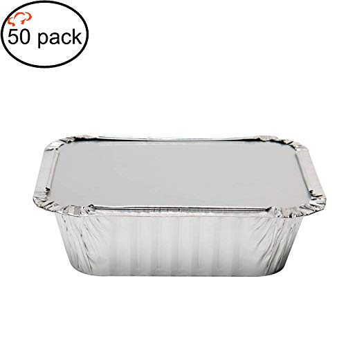 Tiger Chef Oblong Aluminum Tin Foil 1 Pound Pans Dimensions: 5.56 X 4.56 X 1.63 With Board Lids Disposable Freezer to Oven Safe for Takeout, Baking, Cooking, Storing and Freezing - 50 Pack