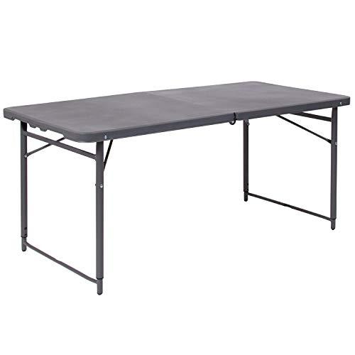Flash Furniture DAD-LF-122Z-DG-GG GY 23.5×48.25 Plastic Folding Tables, Dark Gray