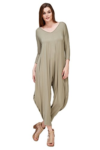 803db4dce32c Annabelle Women s Long Sleeve Comfy Harem Jumpsuit Romper with ...