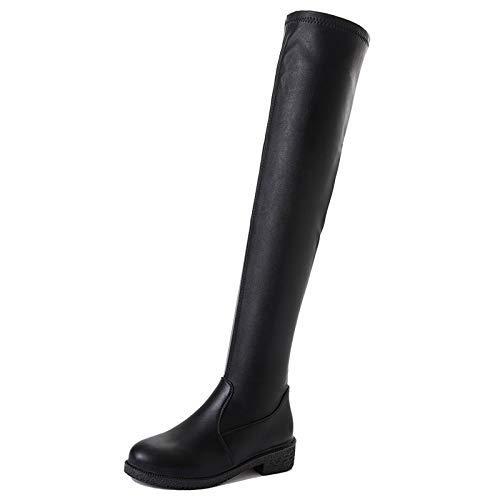 Qiusa High Heels Damenschuhe Damenschuhe Damenschuhe Windschuhe runder Kopf dick über dem Knie Lange Stiefel warme Single (Farbe   38 Größe   Schwarz) cccf3d