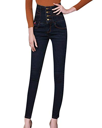 Sencillos Grau Botones Un Blau Con Alta Llanura Pecho Elásticos Pantalones Vaqueros Lápiz Estilo Mujer Solo De Pitillo Bolsillos Cintura xTw0FBR