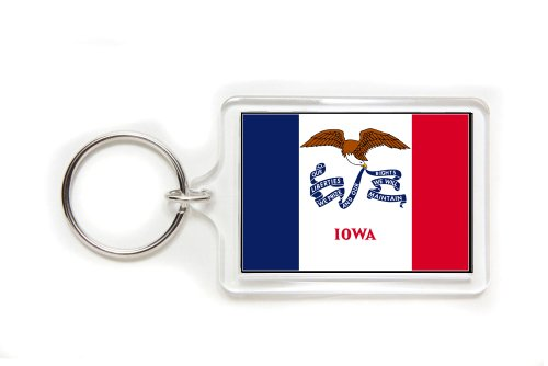 Iowa Flag Double Sided Acrylic Key Ring Medium Keyring Keychain
