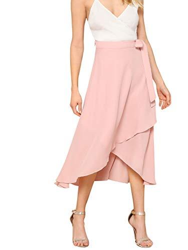 Verdusa Women's Waist Knot Leopard Print High Waist Wrap Split Skirt Pink L]()