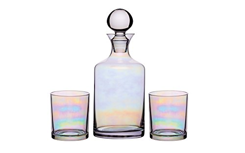 BarCraft Glass Gin/Whisky Decanter and Tumbler Gift Set (3 Pieces) - Rainbow-Pearl Iridescent Finish