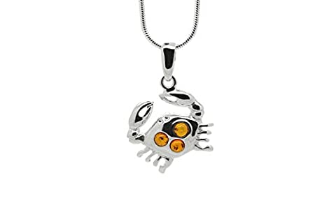 925 Sterling Silver Cancer Zodiac Sign Pendant Necklace with Genuine Baltic Amber. Chain included (Unique Amber Pendant For Women)