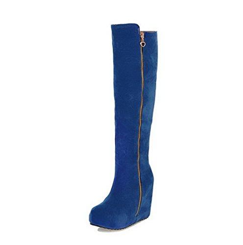 AgooLar Damen Reißverschluss Mattglasbirne Hoher Absatz Rund Zehe Stiefel mit Metallisch, Cremefarben, 36