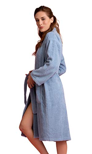 Women's Robe, Turkish Cotton Terry Kimono Spa Bathrobe (Light Blue, XX-Large) ()