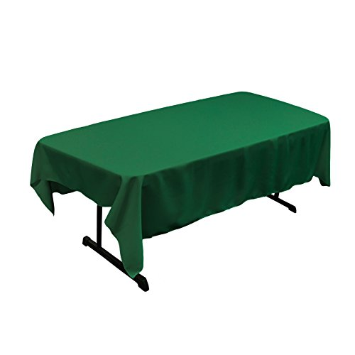 (LA Linen Polyester Poplin Rectangular Tablecloth, 60 x 84, Emerald Green)
