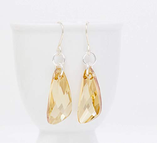 Light Amber Crystal Faceted Sterling Silver Dangle Earrings