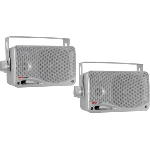 - Pyle PLMR24S 100 W RMS - 200 W PMPO Speaker - 3-way - 2 Pack - Silver - 70 Hz to 21 kHz - 4 Ohm - PLMR24S