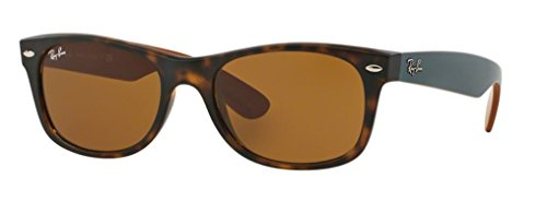 Ray-Ban RB2132 New Wayfarer Sunglasses Unisex 100% Authentic (Tortoise Frame Solid Brown Lens, 55) (Grau Ray Ban Wayfarer)
