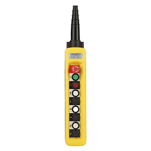 Crane Hoist Control, Crane Chain Hoist Push Button Switch Lifting Pendant Controller with Emergency Stop