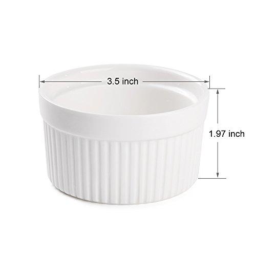 Accguan Set of 8 PCS 6 oz Round Porcelain Oven Safe Ramekin Dessert Souffle Baking Dish(3.5 INCHES) (White) by Accguan (Image #2)