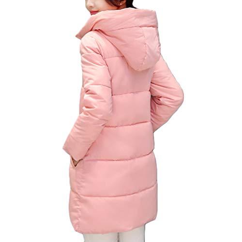 Cappuccio Rosa E Libero Femminile Tempo Muchao Lunga Cappotto Sezione Tasca Abbigliamento Inverno Cerniera Media RnUwH8q