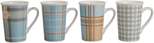 BIA Cordon Bleu 903995+B19S4SIOC Gift Sets Plaid Metallic Coffee Mug (Set of 4), 14 oz, Assorted Colors
