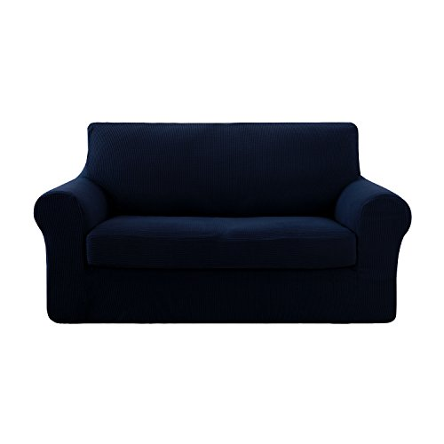 Deconovo Jacquard Spandex 2 Pieces Love Sofa Covers Fitted Sofa Cover Set Stretch Sofa Slipcovers for Loveseat Navy Blue