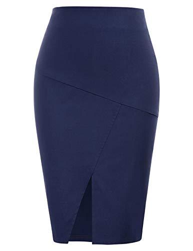 Women's Front Split Elastic Waist Hips-Wrapped Bodycon Pencil Skirt
