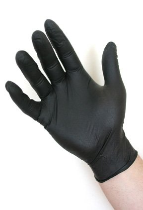 Atlantic Safety Products Black Lighting Powder-Free Disposable Nitrile Gloves - Size Large, Case of 1000 -