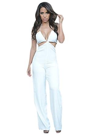 73e9c5edddab shelovesclothing Women s New Sexy White Black Cut Out Crisscross Halter  Neck Jumpsuit Sizes 8-12 (UK)  Amazon.co.uk  Clothing