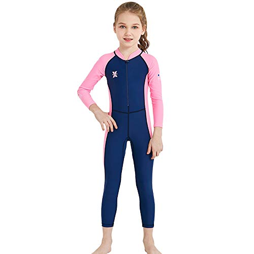 Kids Rash Guard,UPF 50+Full Wetsuit One Piece Long Sleeve Swimsuit Sun Protection Swimsuit Quick-Drying Swimwear For Girls And Boys Snorkeling, Diving Scuba And Pool Multi Water Sports (Navy, XXL)