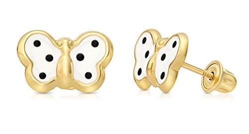 Yellow Gold Enamel Butterfly Earrings - Children's 14k Yellow Gold Enamel Butterfly Stud Earrings with Secure Screw-backs (White)