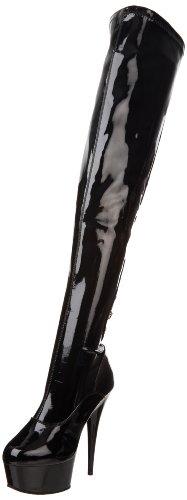 Pleaser Delight-3063 Stivali Da Donna A Maniche Corte Nere (nero (blk Str Pat / Blk))