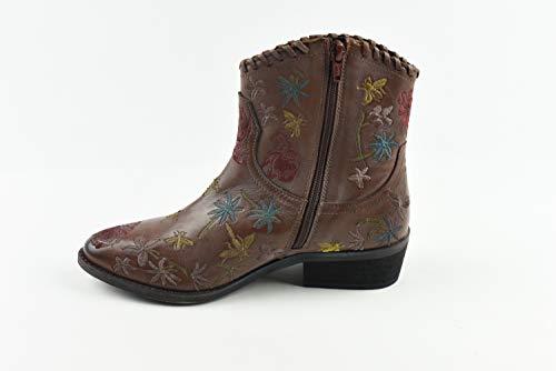 Emozioni Interna Ricamo Texano Zip Stivali Cuoio Con Donna Boot Scarpa Floreale Tronchetto Western UxwqrHUz